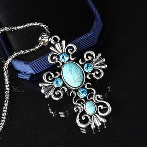 Rhinestone Cross Turquoise Pendant Choker Necklace Sweater Chain Jewelry For Women (Size: 8.5cm by 4.89cm, Color: Silver)