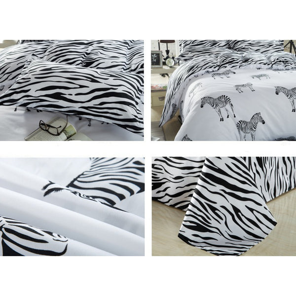 Black and white zebra Bed Pillowcases Duvet Cover Set Quilt Cover Set Twin Queen King Size