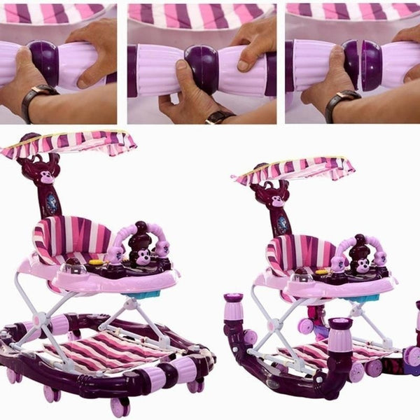 Infant Shining Baby Stroller Baby Walker 6-18 Months Hand Push Anti Rollover Multi-function Folding with Music