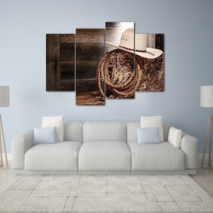 4pcs No Frame Wall Art Paintings Print Cowboy Hat and Rope Wall Art Picture Canvas Paintings Wall Decorations for Living Room Ho