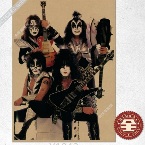 Retro style KISS heavy metal rock band poster poster Kraft paper material rock band poster