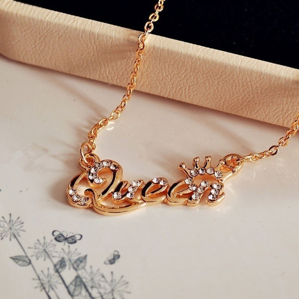 Hot Jewelry Alphabetical Queen Rhinestone Short Clavicle Chain Necklace