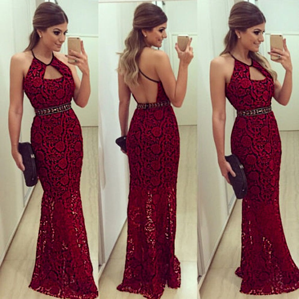 2016 New Fashion Look Elegant Sexy Halter Neck Backless Floral Lace Party Cocktail Long Dresses for Women