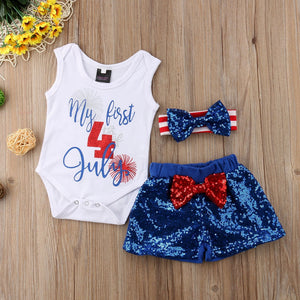 Toddler Baby Boy Girl Romper 4th July American Flag Pants Clothes 3pcs Outfit Set 0-24M
