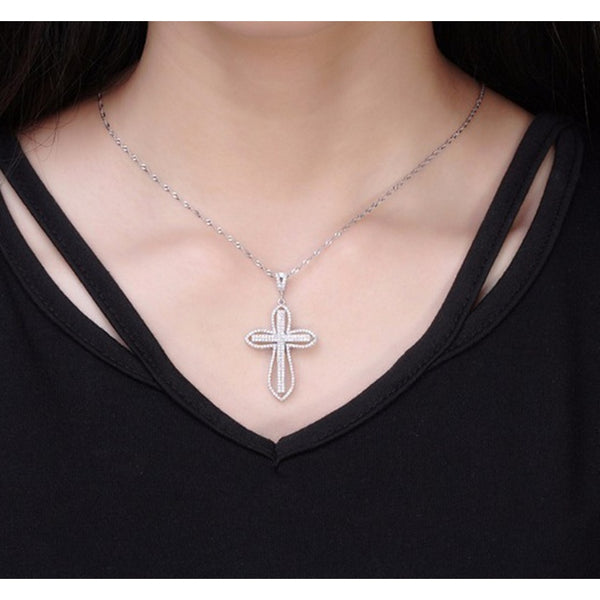 New Trendy Jewelry 925 Sterling Silver&topaz Cross Pendant Necklace