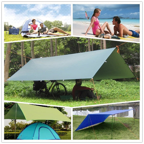 Kepeak  Tent Tarp Awning Sun Shade Rain Shelter Beach Camping Picnic Pad Moisture-proof Mat (Tent Only,Support Not Include)