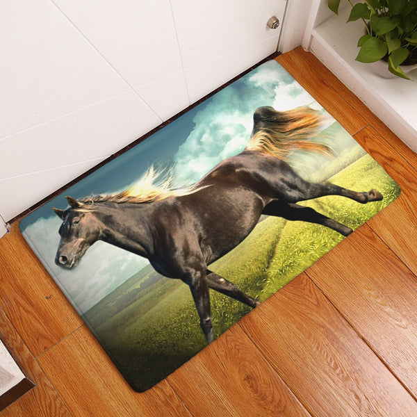 Entrance Doormat 400X600MM 3D Animal Horse Carpet for Living Room Rubber Kitchen Mats Rugs