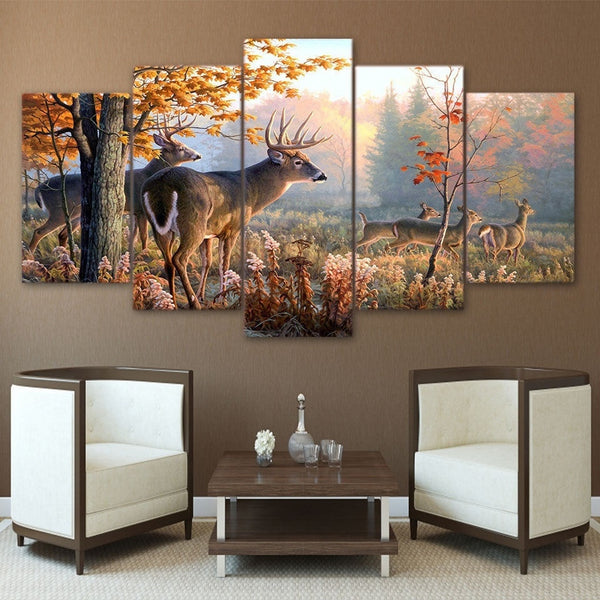 Frameless Canvas Photo Print 5 or 4 Pieces Deer In The Forest posters & prints Wall Art Home Decor Canvas Paintings Wall Decora