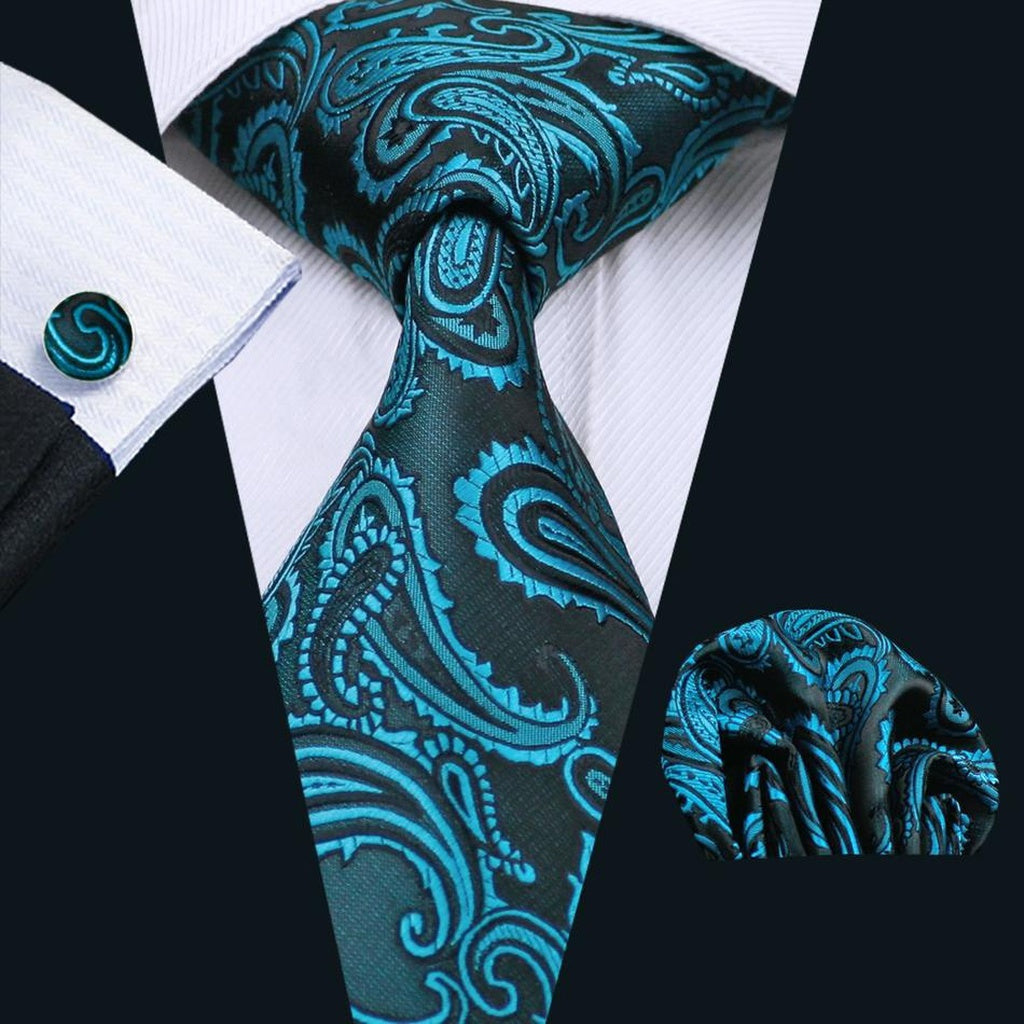 Newest Mens Tie Green Paisley Womens Silk Necktie Handky Cufflinks for Formal Gift Wedding LFSN1045 (Size: 8.5cm, Color: Green)