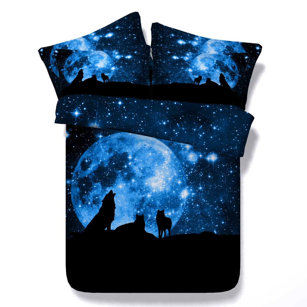 Wolf animal Universe Galaxy nebula bedding set bed linen king queen full twin size 3Pcs NO FILLER INSIDE include duvet cover pil