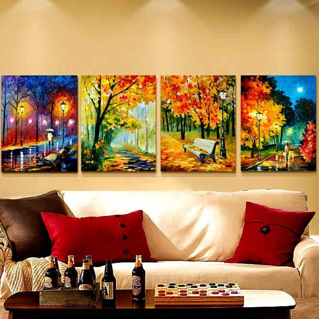 High Quality Unframed Canvas Painting Wall Pictures 4panels Wall Art ...