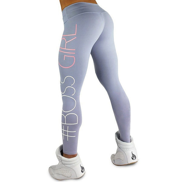 Women's Casual Sport High Waist Skinny Letters Printed Leggings Sport Pants