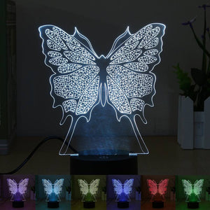 Touch Switch USB 7 Color Change Butterfly Acrylic Illusion 3D LED Night Light Table Desk Lamp Indoor Lighting DC5V