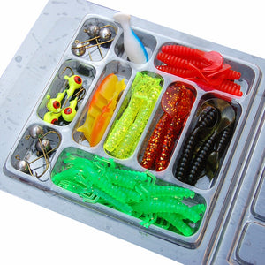 35Pcs/Set Soft Worm Fishing Lures 10Lead Jig Head Hooks Simulation Lures Fishing Baits Set Tackle Pesca