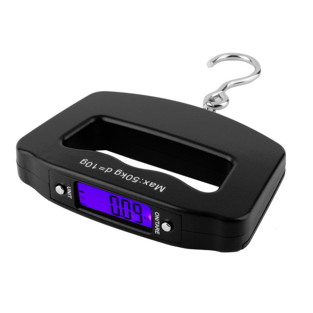 Black ABS plastic Pocket 50kg/10g LCD Digital Fishing Hanging Electronic Scale Hook Weight Luggage 120mm x 80mm x25mm
