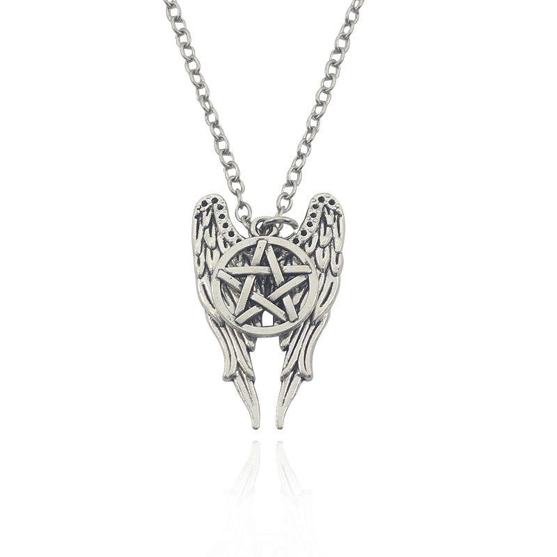 Supernature Geometry Wings Amulet To Ward Off Evil Pentagram Necklace