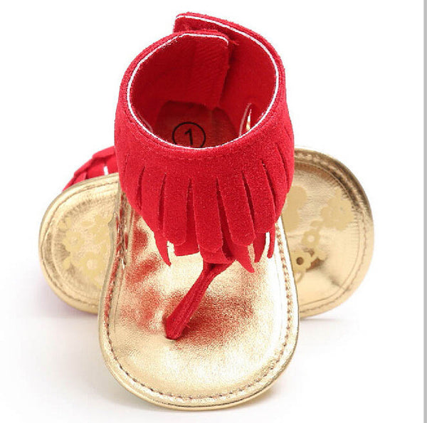 Baby girls sandals tassel summer shoes Girl Crib Shoes Flower Soft Sole Anti-slip Baby Sneakers Sandals