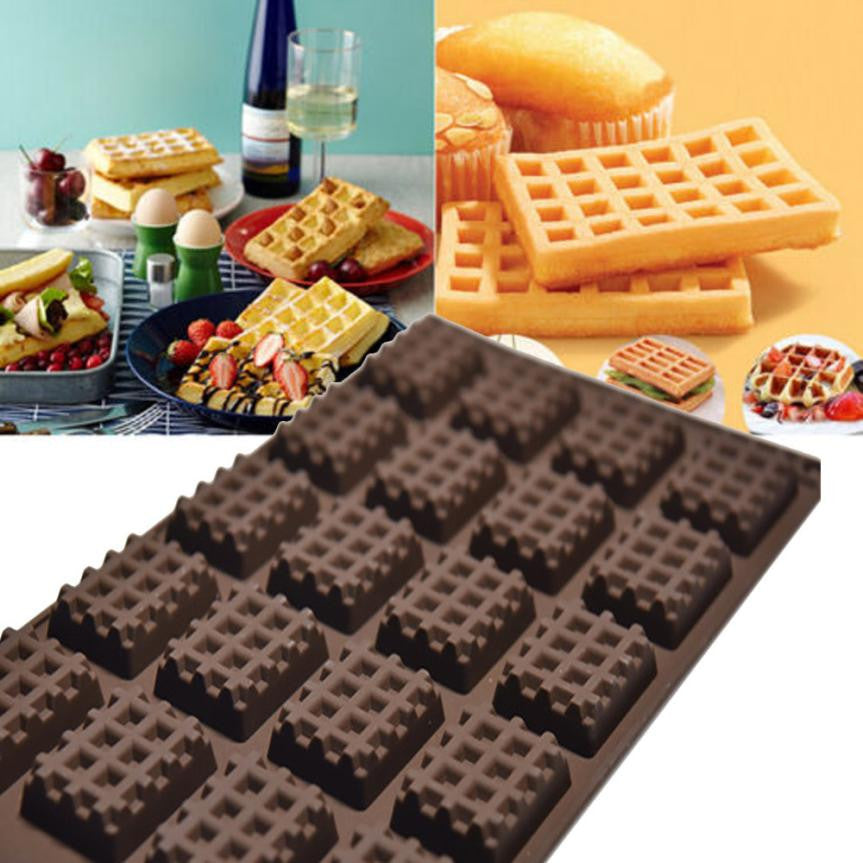 Kitchen Silicone Mini Round Waffles Pan Cake Chocolate Pan Baking Mould Mold Waffle Tray