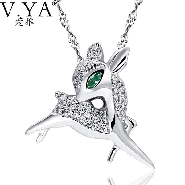 100% Real 925 Sterling Silver Pendant for Women Fashion Wapiti Jewelry Crystal Animal Elk Pendant Zirconia - Hoot & Nanny