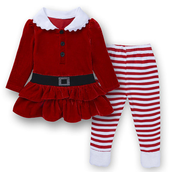 Christmas Clothes for Small Girls 2017 Children's Clothing Red Suit for Girls Christmas Costume 2pcs Dress + Striped Pants ST297