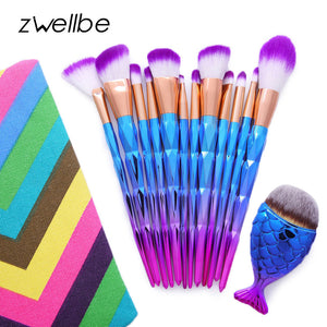 12Pcs Diamond Shaped Makeup Brush Set