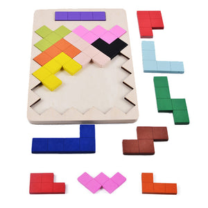 Kids Puzzles Wooden Toys Tangram Jigsaw Board Brain Teaser 3D Puzzle Geometric Shape Tetris Game Educational Toys Gift