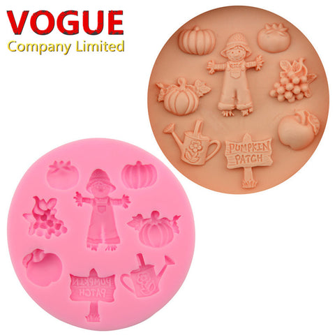 DIY Farm Orchard Pumpkin Watercan Scarecrow Silicone Cake Mold Cake Decorating Tools Chocolate Fondant Mould Baking