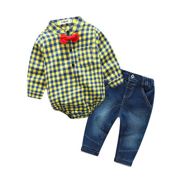 baby boys plaid rompers with bowtie + demin pants