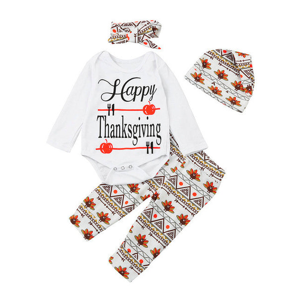 Thanksgiving Newborn Infant Kids Baby Boy Clothes Letter Long Sleeve Romper Tops+Floral Pants+hat Headband Baby 4pcs Outfits Set