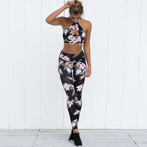 2017 Yoga Pants Women Sport Running Leggings Floral Print Female Workout Training Tights Dance Fitness Sport Pants Sport Wear#YW