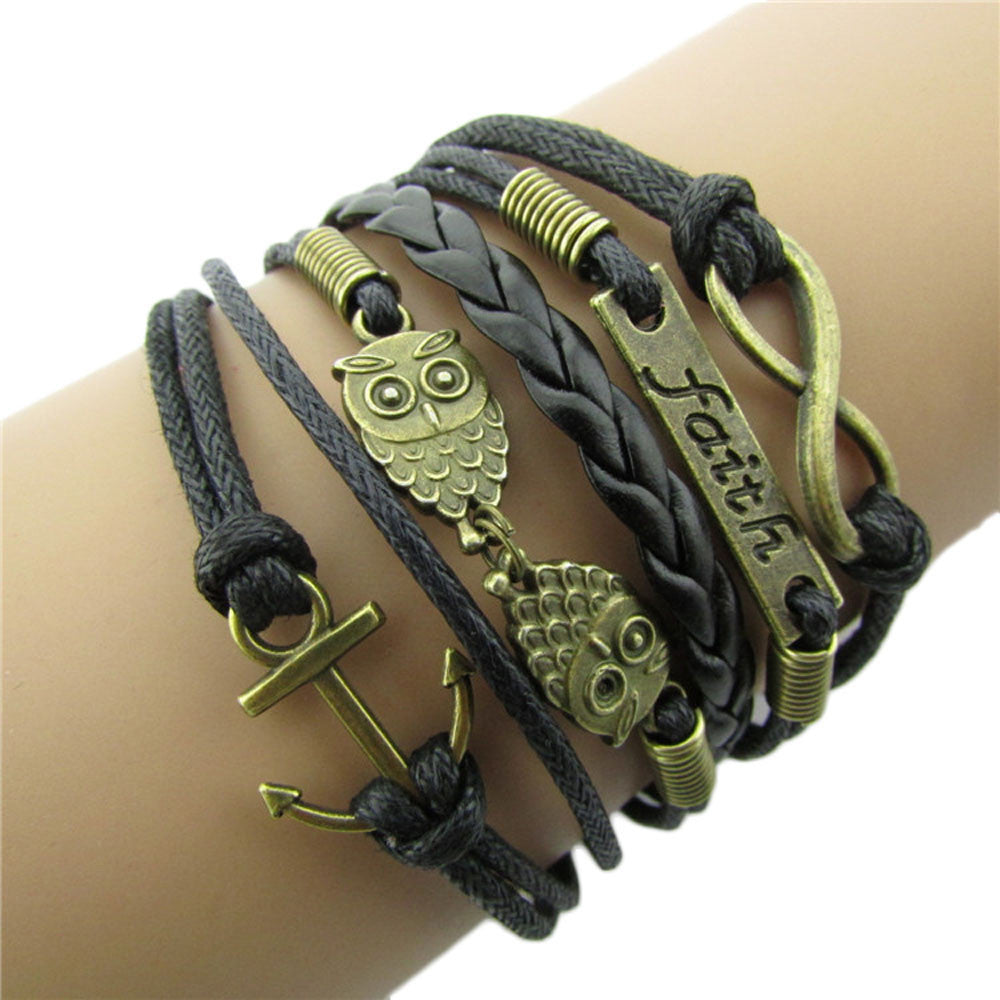 Bronze Anchor and Owl Charm Leather Rope Bracelet
