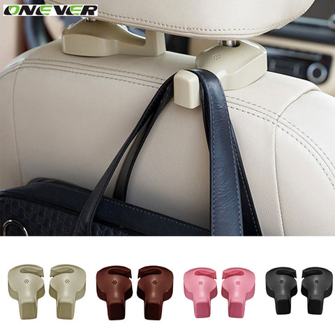Onever 2pcs Universal Car Headrest Hook Seat Back Hanger Holder Vehicle Organizer for Handbags Purses Coats and Grocery Bags