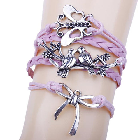 Butterfly Handmade Leather Braid Fashion Bracelet