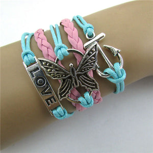 Infinity Love Butterfly Anchor Bracelet