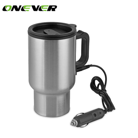 Onever 12V Car Kettle 450ml Car Heating Cup Stainless Steel Coffe Tea Water Heater Travel Vacuum Cup Cigarette Lighter Adapter