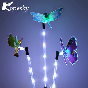 3pcs Multi-color Solar Garden Light LED Lawn Light Gradual Changing Path Light Butterfly Hummingbird Dragonfly Garden Decoration