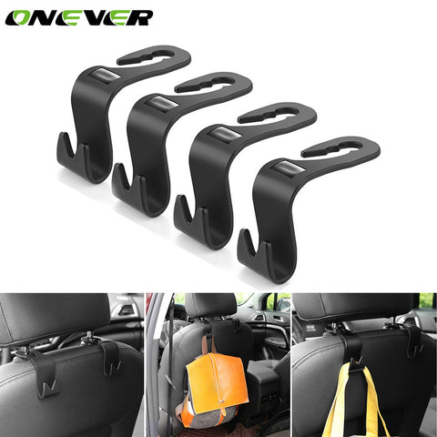Onever 4pcs Universal Car Headrest Back Hook Seat Back Hanger Vehicle Organizer Holder for Handbags Purses Coats and Grocery Bag