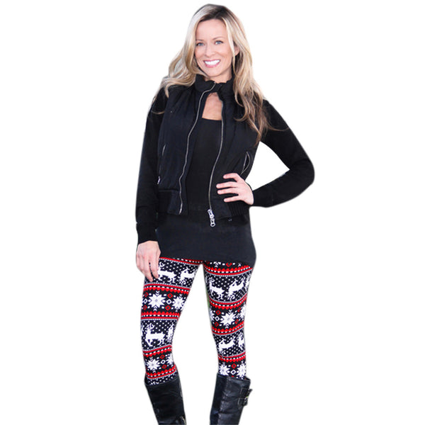 Christmas Elk Print Leggings
