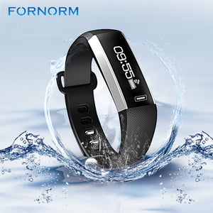 FORNORM Wireless Bluetooth Heart Rate Monitor  Smart Bracelet Fitness Tracker Wristband Sports Sleep Monitor Call Reminder Alarm