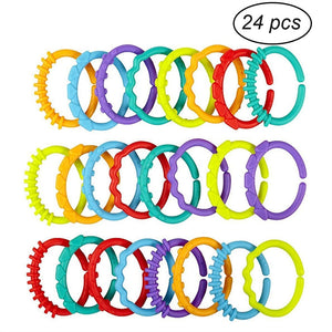 24pcs Baby Teether Rings Links Toys Links Rattle Strollers Car Seat Travel Toys for Baby Infant Newborn