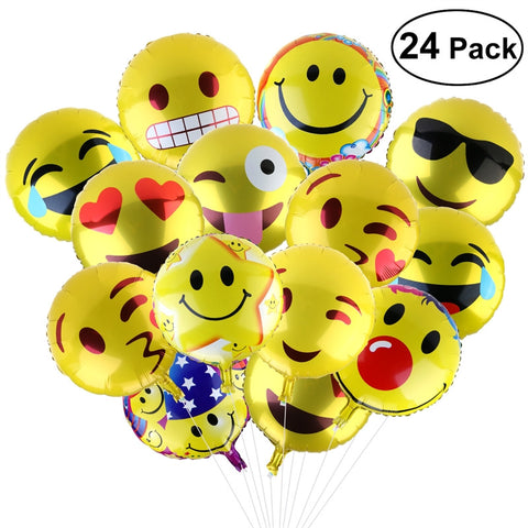 Set of 24pcs 18-Inch Foil Party Balloons 11 Facial Expression Emojis Balloons