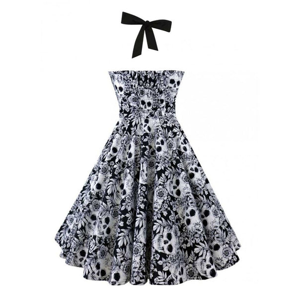 Women 2018 50s 60s Hepburn Style Vintage Rockabilly Sleeveless 3D Skull Floral Printed Halter Plus Size Party Sexy Casual Dress