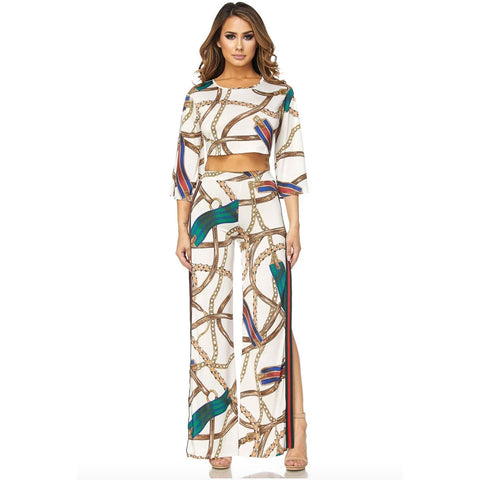 Women's Sexy O-Neck Stripe Printed Side Slit 2 Pieces Pants Set