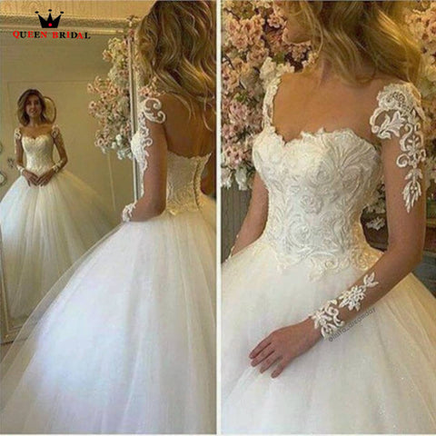 QUEEN BRIDAL 2018 New Wedding Dresses Ball Gown Ruffle Tulle Lace Formal Wedding Gown