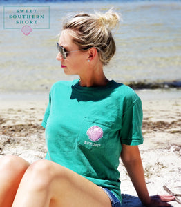 Sweet Southern Shore Collection Pocket Tee | Short Sleeve | Sea Green