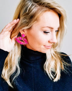 Beaded Lip Statement Earrings - Fuchsia