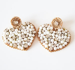 Pearl Stone Statement Heart Earrings
