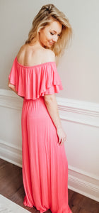 Casual Stroll Maxi Dress - Coral