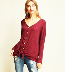 Button Me Up Top - Burgundy