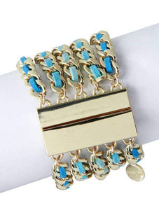 Luxe Leather and Gold Chain Magnetic Bracelet - Blue